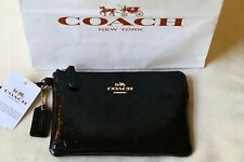 New Authentic Coach F55206 Signature Patent Leather Black Embossed Wallet NWT
