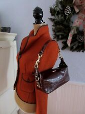 RALPH LAUREN BEAUTIFUL DRK BROWN CROC LEATHER SMALL SATCHEL HAND BAG NWOT BEAUTY