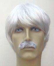 Grey Men's Fancy Dress Wig and Moustache Set