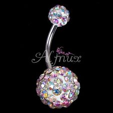 Colorful Crystal Ball Piercing Navel Button Bar Belly Ring Barbell For Women