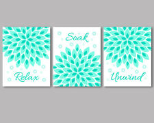 3 prints / posters, modern art for bathroom wall decor, turquoise flowers