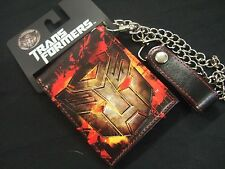 NWT Men's The Transformers Autobots Bifold Black Fire Red Wallet & Metal Chain