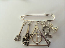 Silver Tone Kilt Pin Brooch - HARRY POTTER DEATHLY HALLOWS inspired gift present