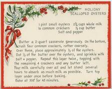 VINTAGE CHRISTMAS HOLLY BERRIES HOLIDAY SCALLOPED OYSTERS RECIPE CARD ART PRINT