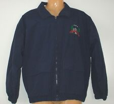 Lord & Taylor Men's Windbreaker Medium M Navy Blue Lined Golf Flags Embroidered