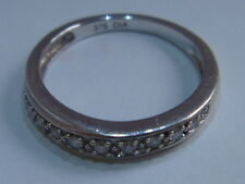 Fine 9ct White Gold Diamond Eternity Ring Size I Hallmark