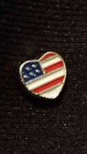 American Flag Heart Piece Charm for Living Memory Locket/Origami OWL Locket!