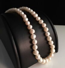 Genuine White Freshwater Pearl Strand Necklace Sterling Silver Filigree Clasp
