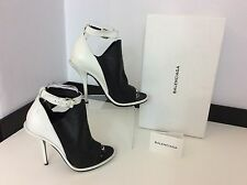 BALENCIAGA White & Black Leather Peep Toe Shoes Heels Size 39  Uk 6  Box