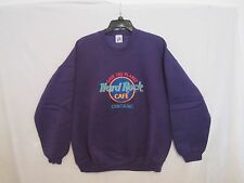 VINTAGE- Hard Rock Cafe - CHICAGO - EMBROIDERED - PURPLE SWEATSHIRT XL