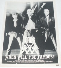 Vintage BROS 'WHEN WILL I BE FAMOUS?' Music Press Advert 1987!