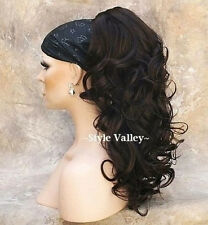 Dark Brown Ponytail Extension Hair Piece Curly Long claw Clip in on Hairpiece #4