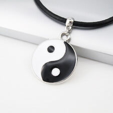 Black White Alloy Tai Chi Yin Yang Pendant 3mm Black Leather Tribal Necklace NEW