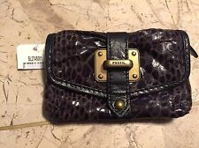 NWT FOSSIL FLAP PLEATED LEATHER MINI WALLET CARD HOLDER CLUTCH SNAKESKIN SL2745