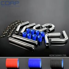 "Turbo Intercooler Pipe 2"" Chrome Aluminum Piping+T-Clamps+Silicone Hoses"