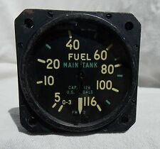 WW2 USN USMC FM-2 Wildcat Fighter Marked Aircraft Fuel Gauge Instrument