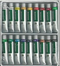 GOUACHE PAINTS ~ 18 TUBE PAINT SET w/ 3 SABLE MIX BRUSHES!