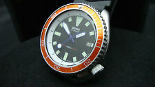 Vintage Seiko divers 7002 Auto MEGA MOD BLACK DIAL ORANGE BEZEL 150m Watch J28