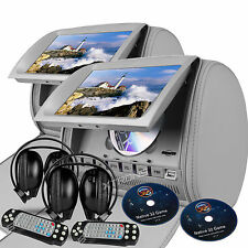 "Gray 2x Pillow 9"" LCD Car Headrest Game IR Headsets Journey Monitor DVD Player"