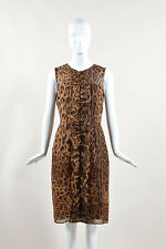 Dolce & Gabbana NWT $3650 Brown Tan Silk Leopard Ruffled Sleeveless Dress SZ 42