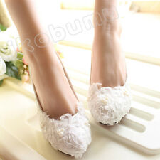 White Ivory Pearl Wedding Lace Bridal Bridesmaid Flat High Low Heels shoes 5-12