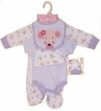 Baby girls starter layette set babygrow bodysuit bib hat mitts outfit Newborn