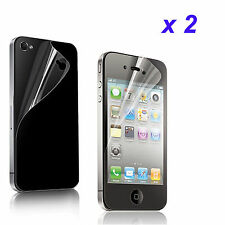 4pcs=2x(Front+Back)Clear Screen Protector Cover Film for Apple iPhone 4 4S 4G
