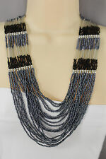 Women Shinny Multi Strands Strings Fashion Necklace Silver Metal Navy Blue Beads