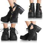 NEW LADIES WOMENS CUT OUT ANKLE BLOCK MID HEEL BOOT GOLD BUCKLES SHOES SIZE 3-8