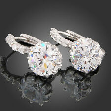 Women Plated White Gold Clear Rhinestone Crystal Zircon Earrings For Wedding