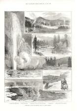 Sketches in the Yellowstone Park of North America  -  Antique Print   -  1883