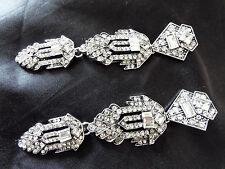 "Stylish 4"" Long Vintage ART DECO Style Silver Crystal Paste Drop Dangle Earrings"