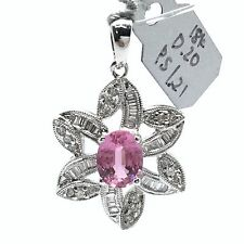 18k White Gold Natural Pink Sapphire And Diamonds Flower Pendant