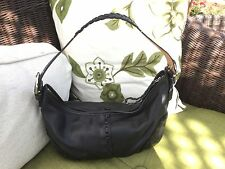 Black leather laced hobo Coach purse hippie look F04S-9539
