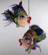 Katherine's Collection Mardi Gras kissing fish Christmas ornament feathers set