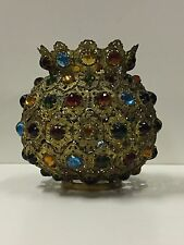 V Rare c.1880 Fancy Brass Multi-Jeweled Crown Top Gas, Oil Lamp Ball Shade NR