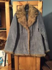 Women's Outbrook Blue Leather Faux Fur Winter Coat Size Large