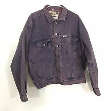 VTG GUESS USA Classic Georges Marciano Denim Purple Washed Jean Jacket Sz L