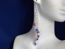 Gemstone Earrings- Ruby,Quartz,Sapphire & 925 Sterling Silver-Fringe chandeliers