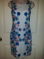 H&M Women's White with Blue,Pink Floral Dress Sexy Stretch Cotton Bodycon Sz. S