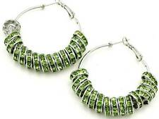 GREEN CRYSTAL ROUNDEL SILVER TONE SPACER BEADED HOOP EARRING