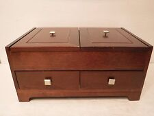 Levenger Hard Wood Wooden Jewelry Trinket Box Dresser Top Valet Flip ToP