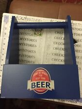 new HOME IS WHERE YOU KEEP YOUR BEER  Wooden Craft Beer Carrier w/ Opener