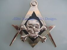 New3D Masonic Master Mason Skull Car Emblem, Gold, Elite Masonic Gifts Design.