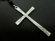 "A LOVELY BIG  CROSS/CRUCIFIX BLACK BALL CHAIN NECKLACE. GOTH. 26"" LONG. NEW."
