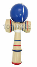 """KENDAMA! BLUE WOOD CUP BALL STRING STICK CLASSIC JAPANESE TOY US SELLER 6.5"""" NEW"""