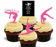 Gymnastics Silhouettes, Pink Edible Cup Cake Toppers, Stand-Up Fairy Bun Girls
