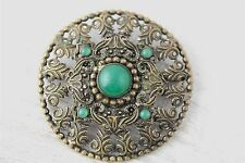ART DECO CZECHOSLOVAKIA BIG BROOCH Brass JADE GREEN GLASS N638