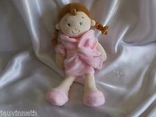 Doudou poupée fille, peignoir rose, Mots d'enfants