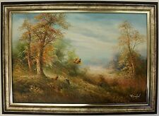 Hand Painted Oil Painting on Canvas,Framed Landscape Forest Pheasants